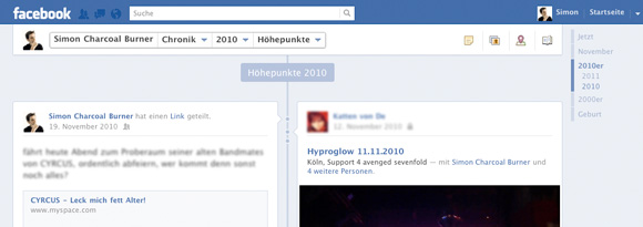 Facebook Chronik Jahresnavigation